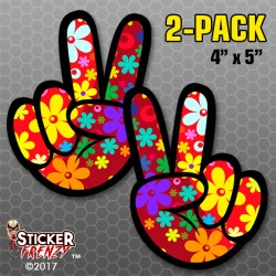 Flower Power Peace Sign 2-PACK Bumper Stickers