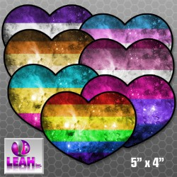 Rainbow Pride Nebula Heart Bumper Sticker
