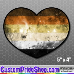 Bear Pride Flag Nebula Heart Bumper Sticker