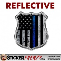 "REFLECTIVE Thin blue line ""BADGE"" Stickers"