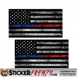 "Thin Blue / Red Line Flag ""GRUNGE"" Stickers 2 Pack"