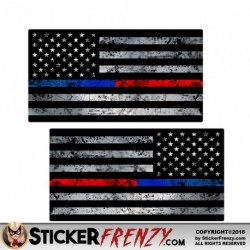 "Thin Blue / Red Line Flag ""GRUNGE"" MIRRORED Stickers 2 Pack"