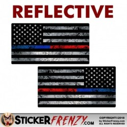 "REFLECTIVE Thin Blue / Red Line Flag Grunge ""MIRRORED"" Sticker 2 Pack"