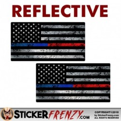 "REFLECTIVE Thin Blue / Red Line Flag Sticker 2 Pack ""GRUNGE"""