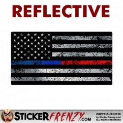 "REFLECTIVE Thin Blue / Red Line Flag Sticker 1 Pack ""GRUNGE"""