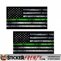 "Thin Green Line Flag ""GRUNGE"" Stickers 2 Pack"