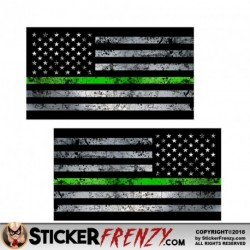"Thin Green Line Flag ""GRUNGE"" MIRRORED Stickers 2 Pack"