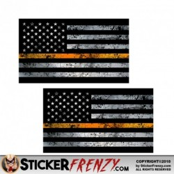 "Thin Orange Line Flag ""GRUNGE"" Stickers 2 Pack"