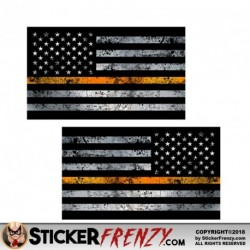 "Thin Orange Line Flag ""GRUNGE"" MIRRORED Stickers 2 Pack"
