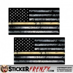 "Thin Gold Line Flag ""GRUNGE"" Stickers 2 Pack"