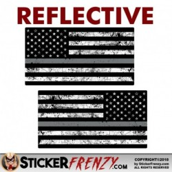 REFLECTIVE Thin SILVER LINE Grunge Flag MIRRORED 2 Pack Stickers