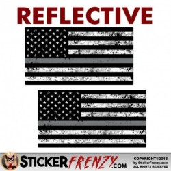 REFLECTIVE 2 Pack Thin SILVER LINE Grunge Flag Stickers