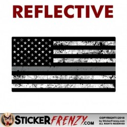 REFLECTIVE Thin SILVER LINE Grunge Flag Sticker