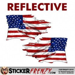REFLECTIVE USA Tattered Flag Sticker MIRRORED 2 Pack Stickers
