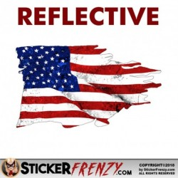 REFLECTIVE USA Tattered Flag Sticker 1 Pack Sticker
