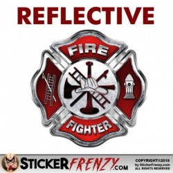 "REFLECTIVE Firefighter ""RED"" Cross Sticker"