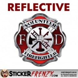 "REFLECTIVE Firefighter ""Volunteer"" Maltese Cross Sticker"