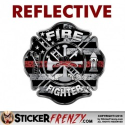 "REFLECTIVE Firefighter ""Thin Red Line"" Maltese Cross Sticker"
