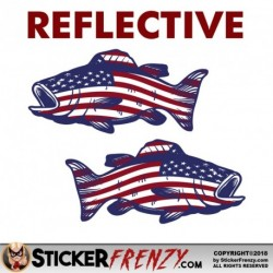 REFLECTIVE Bass Fish USA Flag MIRRORED Sticker
