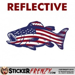 REFLECTIVE Bass Fish USA Flag Sticker