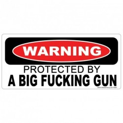 WARNING PROTECTED BY A BIG FCKING GUN Sticker