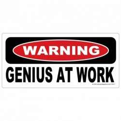 WARNING Genius at work Sticker