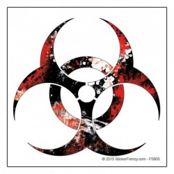 Biohazard Red Grunge Sticker