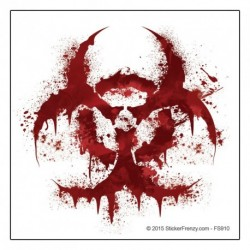 White Bloody Biohazard Decal