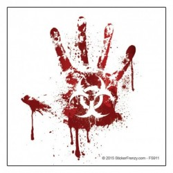White Bloody Handprint Decal
