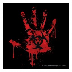 Black Bloody Handprint Sticker