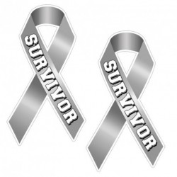 Ribbon SURVIVOR GREY Sticker