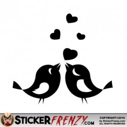 Bird Love Hearts 001 Decal