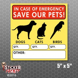 Emergency Pet Safety Window Sticker