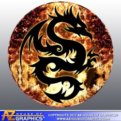Dragon Fire 5 inch circle Bumper Sticker
