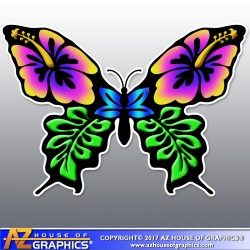 Hibiscus Butterfly Sticker - Choose size