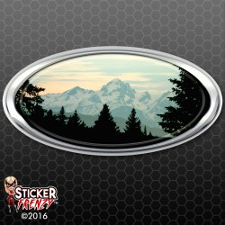 Snowy Mountain Oval RV Decal