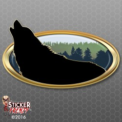 Wolf Howl Oval RV Decal