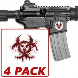 AR-15 Bloody Biohazard Circle 4 Pack Stickers