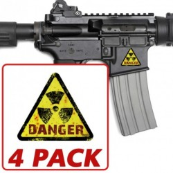 AR-15 Danger Radiation Triangle 4 Pack Stickers