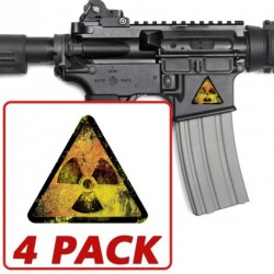 AR-15 Grunge Radiation Triangle 4 Pack Stickers