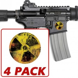 AR-15 Grunge Radiation Circle 4 Pack Stickers