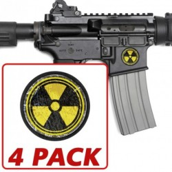 AR-15 Rock Radiation Circle 4 Pack Stickers