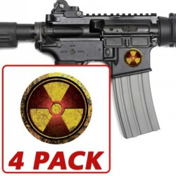 AR-15 Red Grunge Radiation Circle 4 Pack Stickers