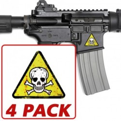AR-15 Skull Triangle 4 Pack Stickers
