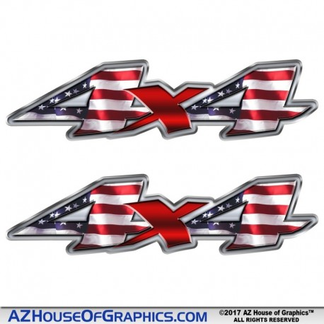 4x4 US Flag Decal