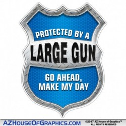 Protected By a Large Gun Shield Blue