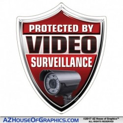 Protected by Video Surveillance Red Shield