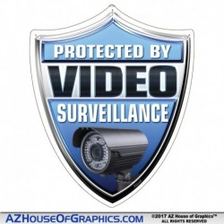 Protected by Video Surveillance Blue Shield