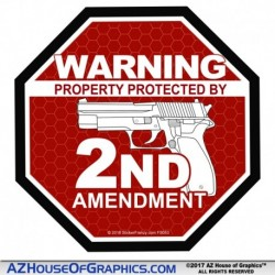 Warning Protected by 2nd Amendment - Red