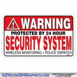 WARNING Security System Sticker LRG